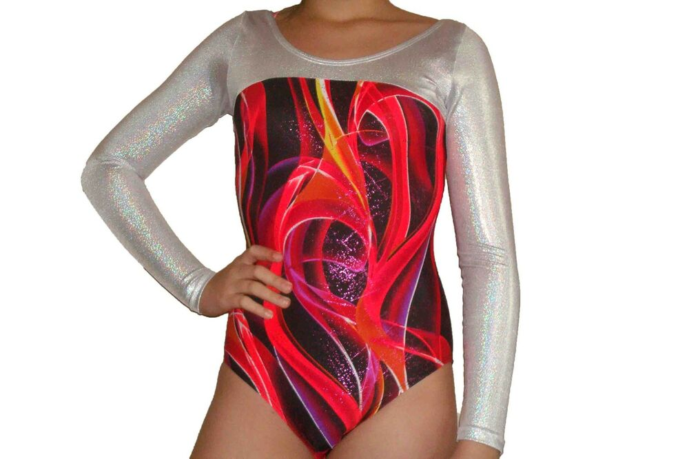68f372a2a944 New girls gymnastic leotard metallic red ribbon print with silver top
