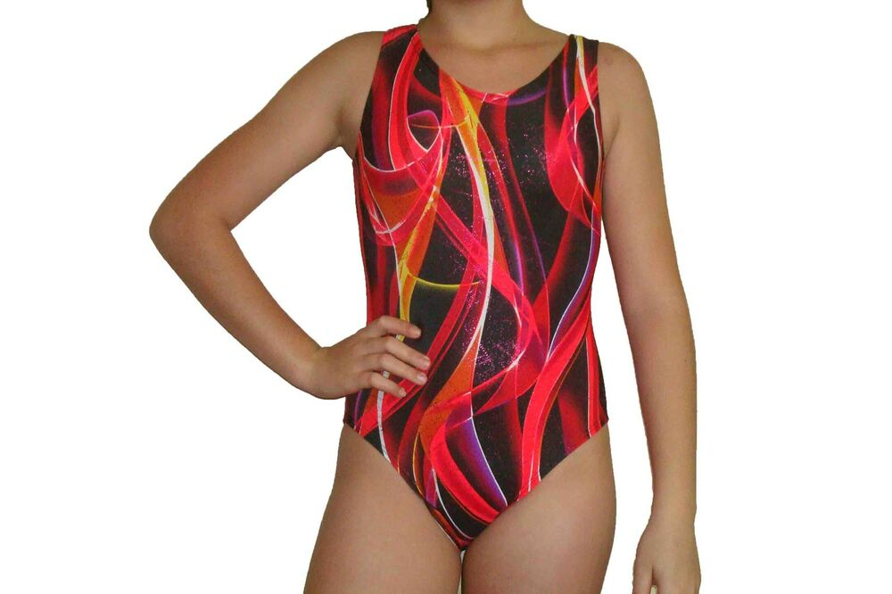 9035ac31ac20 New girls gymnastic leotard metallic red ribbon print