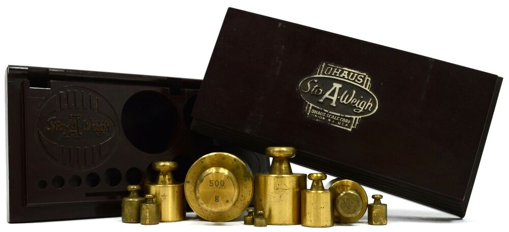 """Vintage APOTHECARY WEIGHT SET of 10 Metric OHAUS""""STO A WEIGH"""" in Case! 2g 500g eBay"""