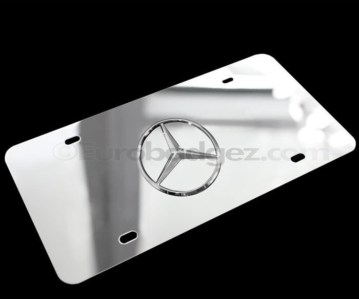 1 new mirror chrome mercedes benz 3d logo stainless steel for Mercedes benz license plate logo