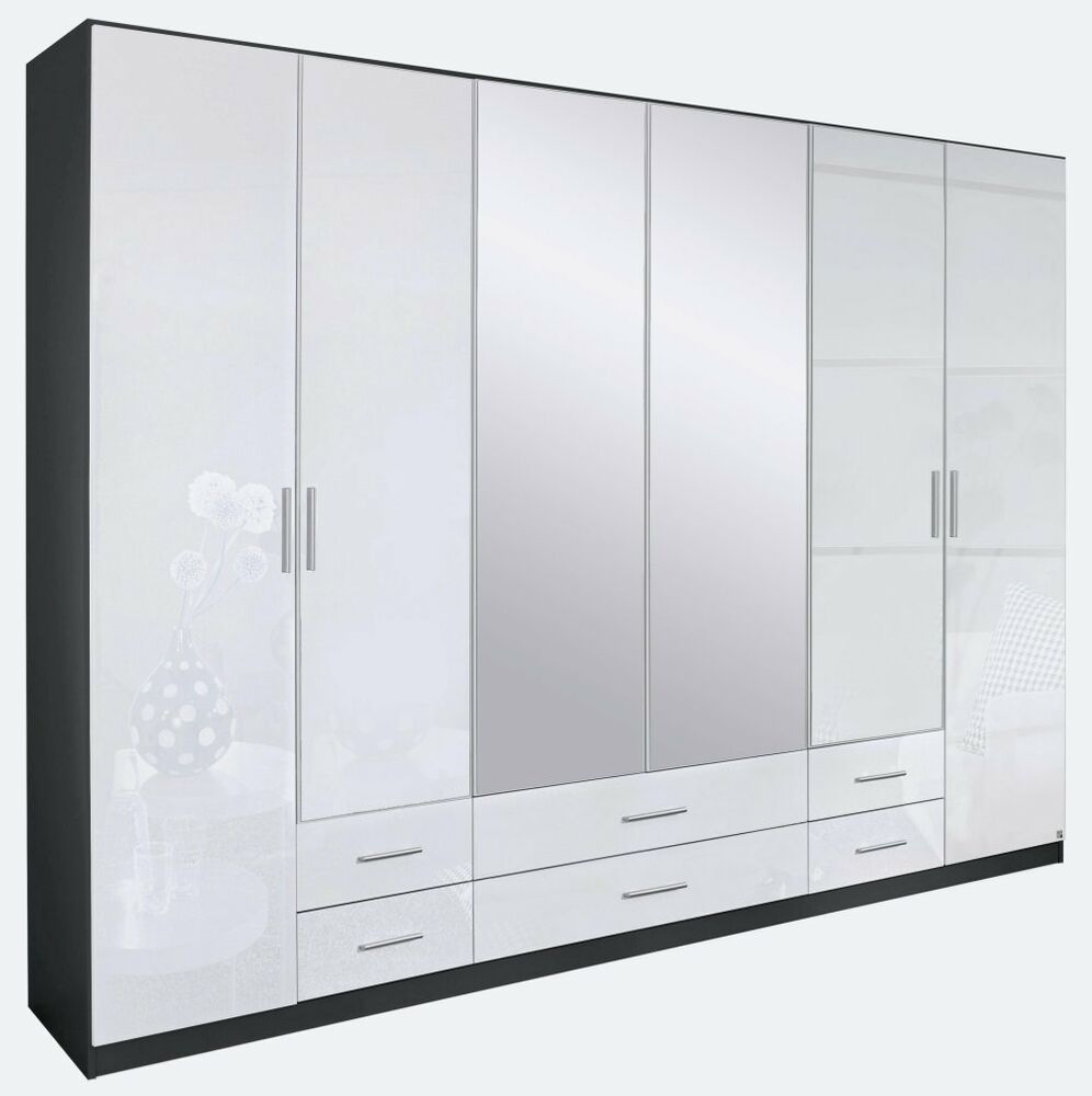 kleiderschrank 6 trg schrank spiegel schlafzimmer grau metallic weiss hochglanz ebay. Black Bedroom Furniture Sets. Home Design Ideas