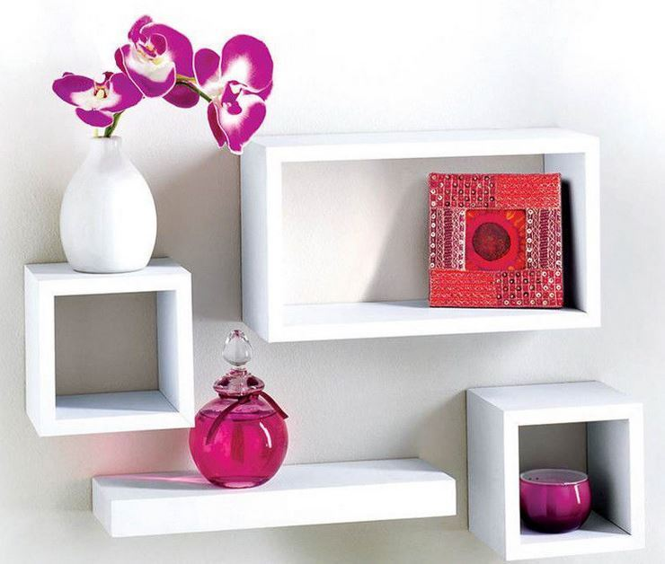 Mdf 4 Floating Wall Storage And Ornaments Display Unit