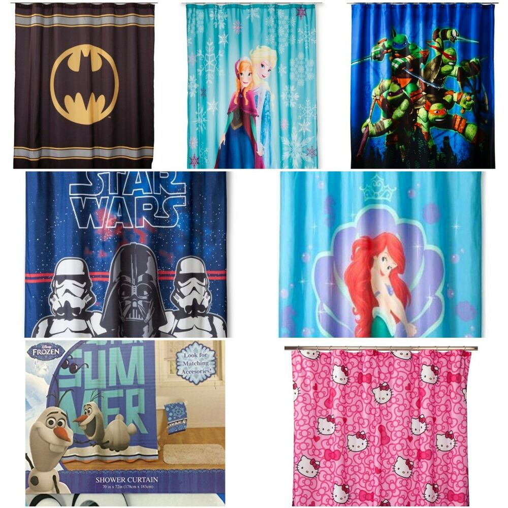 Kids shower curtains disney and tv characters ebay for Kids shower curtain sets