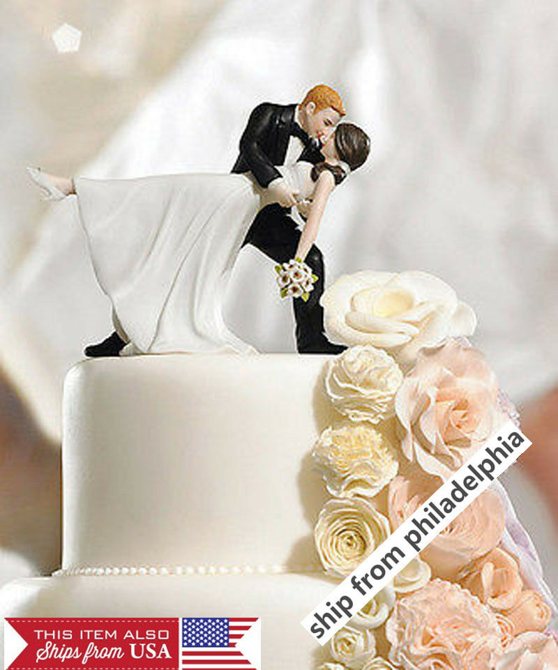 wedding cake topper groom dipping bride and groom wedding figurine 26328