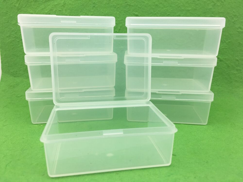 50 x clear plastic storage containers boxes with lids rectangle packaging new ebay. Black Bedroom Furniture Sets. Home Design Ideas