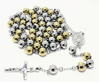 Rosary White Yellow Stainless Steel Chain Cross Religious Bead Necklace Jesus