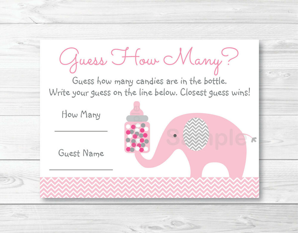 """Pink Elephant Chevron Baby Shower """"Guess How Many?"""" Game ..."""