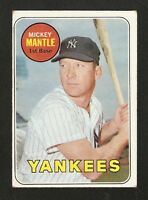 1969 TOPPS #500 MICKEY MANTLE YANKEES YELLOW LAST NAME NO CREASES EXMT