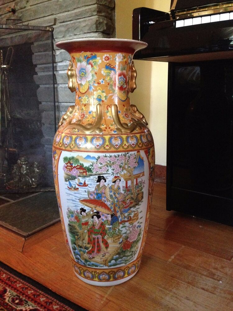 T 24 Quot Antique Chinese Porcelain Hand Painted Beaded Gold