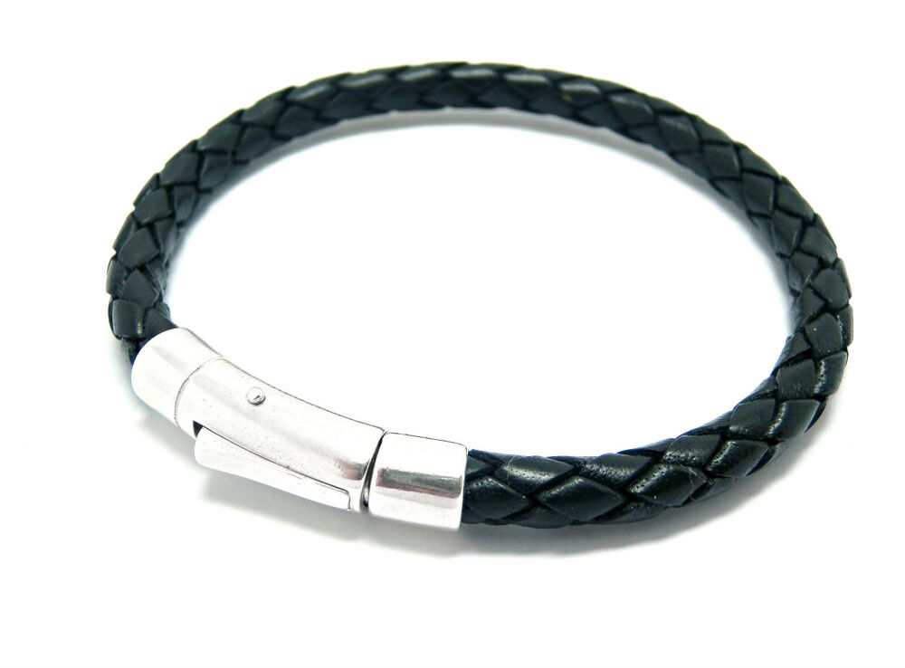 mens leather bracelet with sterling silver clasp closure