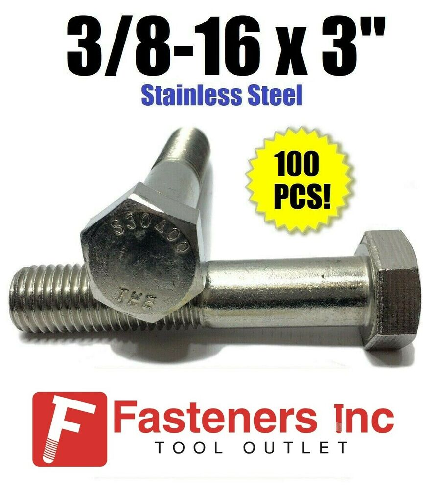 qty 100 3 8 16 x 3 stainless steel hex cap screw bolt 18 8 304 ebay. Black Bedroom Furniture Sets. Home Design Ideas