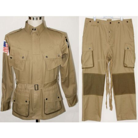 img-WWII US Army M1942 M42 Airborne Paratrooper Uniform Jumpsuit Jacket Trousers S