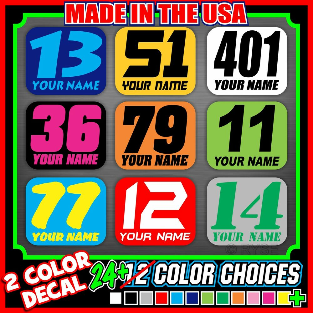 Details about 3x dirt bike number name plate mini decals stickers flat track race pro ama mx