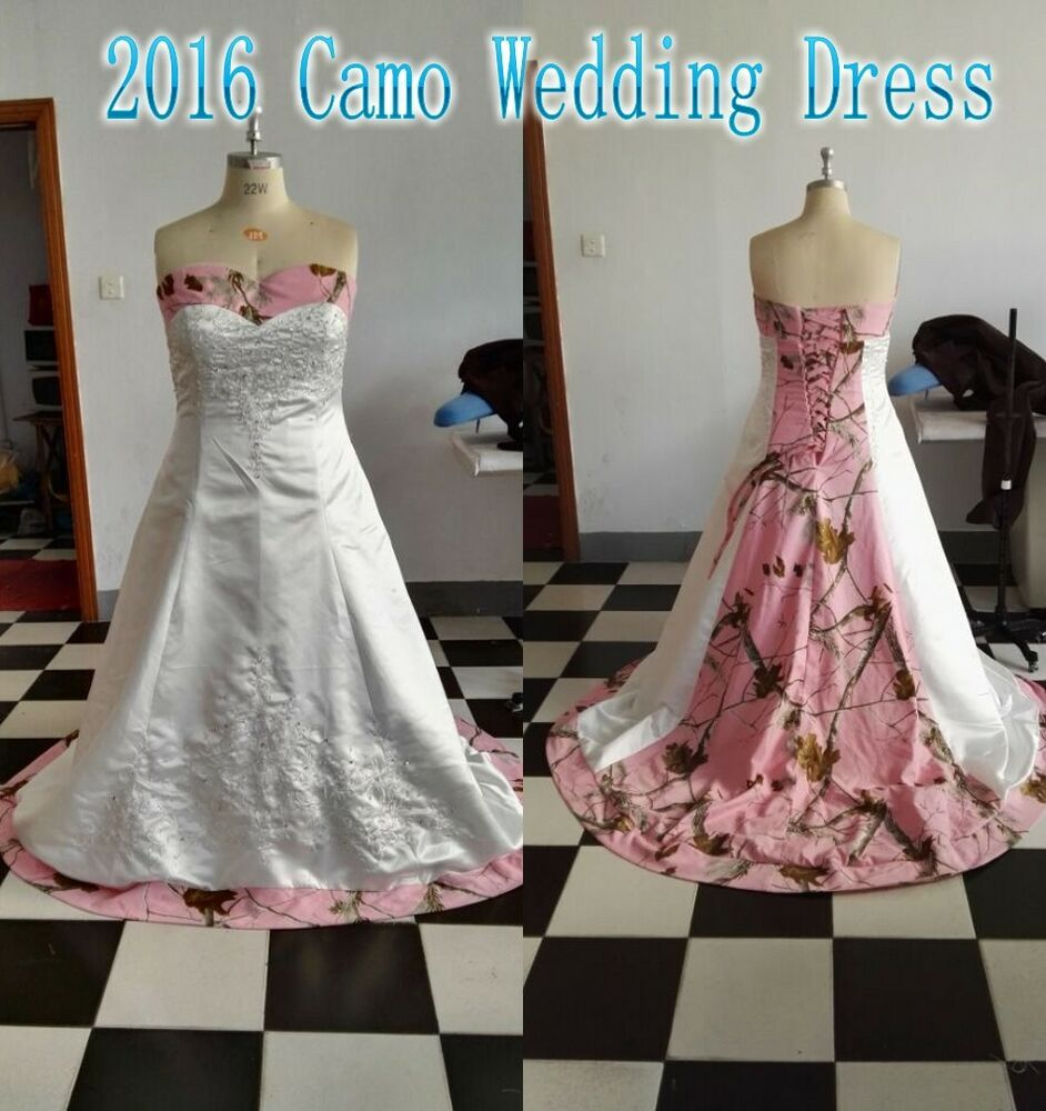 Camo Wedding Dresses: Plus Size Pink Tree Camo Wedding Dress 2017 Camouflage