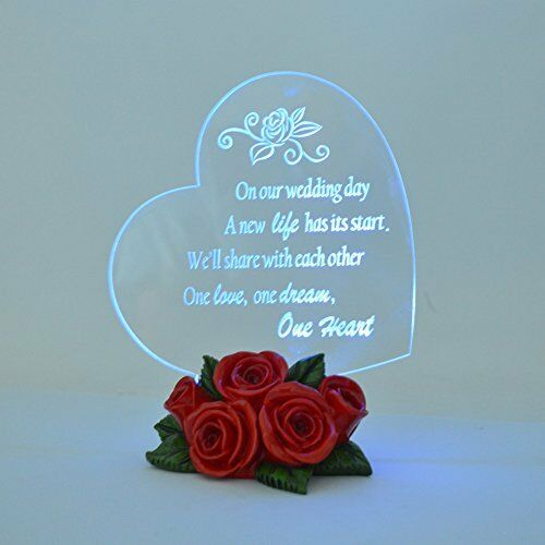 light up acrylic heart led rose flower bottom etched poem wedding cake topper ebay. Black Bedroom Furniture Sets. Home Design Ideas