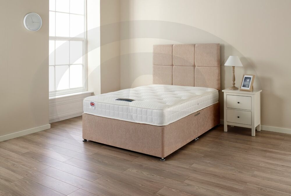 5ft King Size Divan Bed With Spring Memory Foam Mattress Drawers Headboard Uk Ebay
