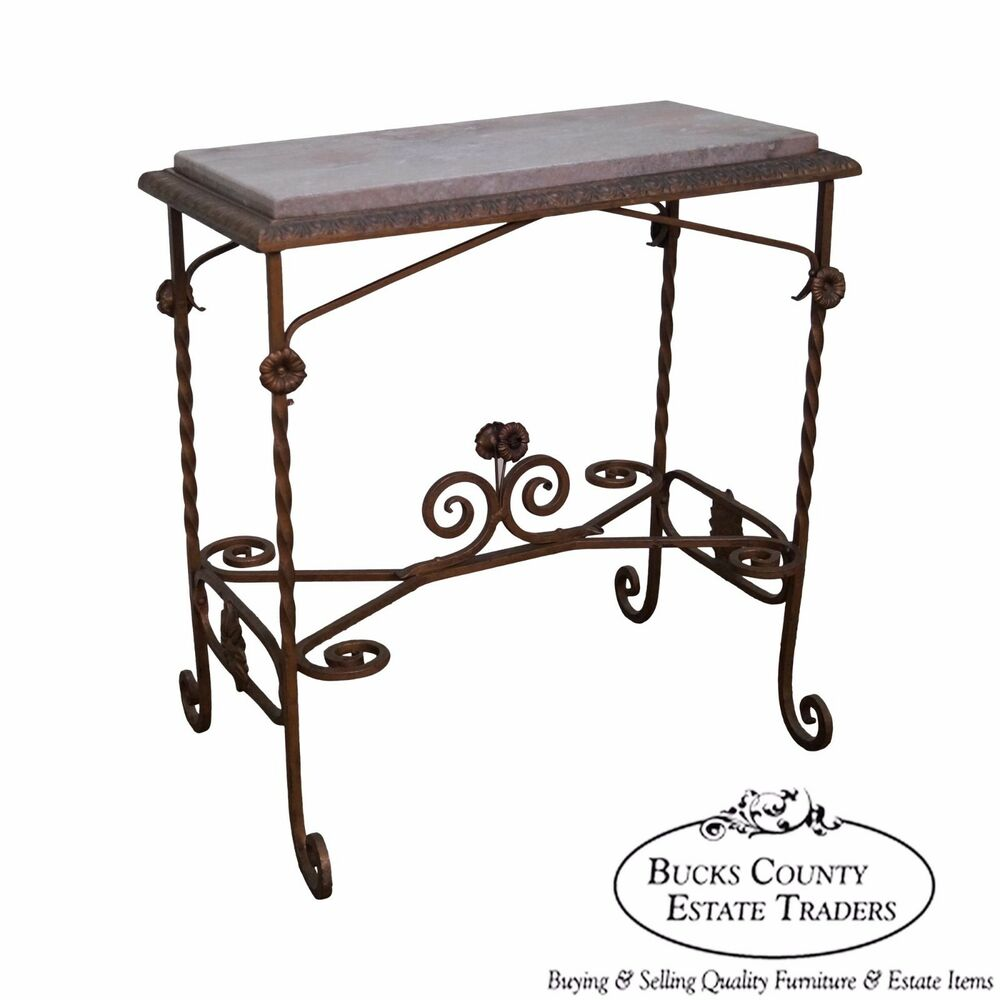 Antique wrought iron marble top side table ebay for Wrought iron table bases marble top