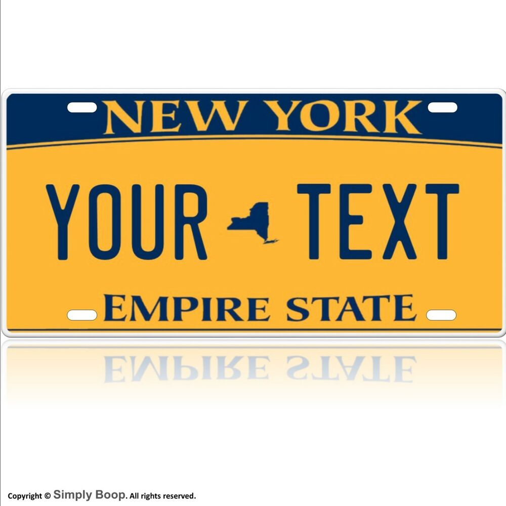 Customized License Plates >> NEW YORK LICENSE PLATE CUSTOMIZED TO ANY TEXT YOU WANT ALUMINUM | eBay