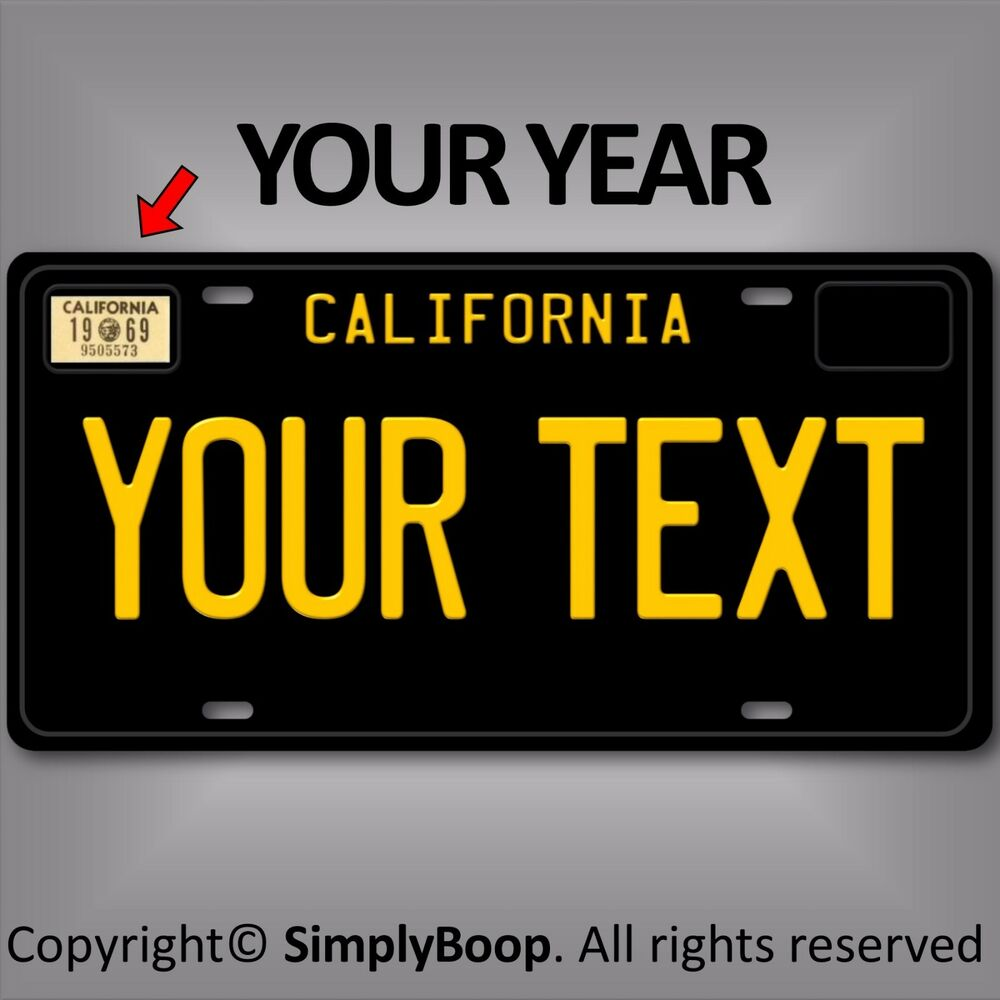 black california any text your personalized text aluminum license plate tag new ebay. Black Bedroom Furniture Sets. Home Design Ideas