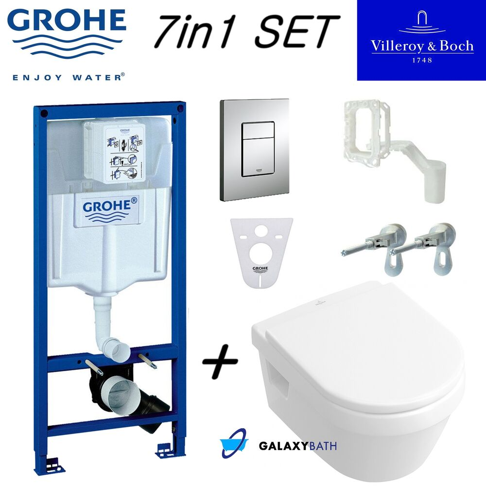 grohe wc frame villeroy boch omnia wall hung toilet pan with soft close seat ebay. Black Bedroom Furniture Sets. Home Design Ideas