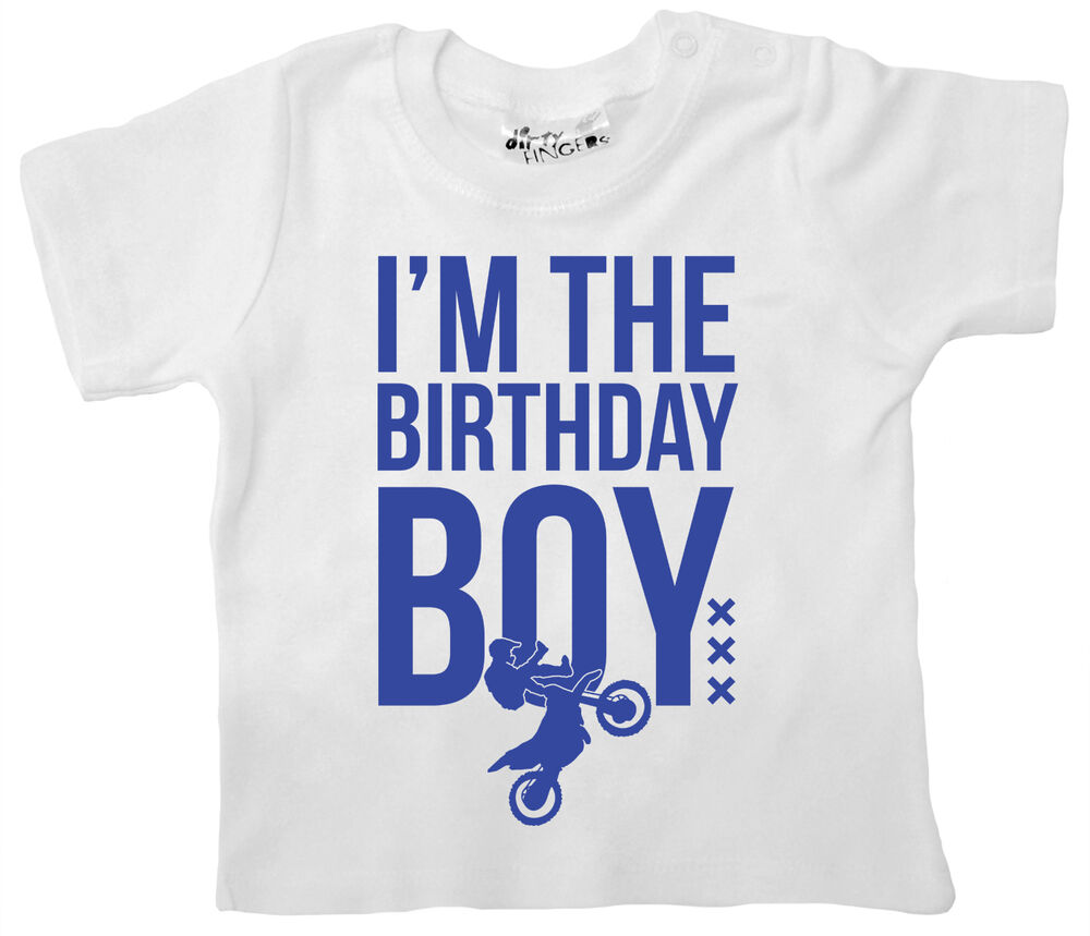 """Dirty Fingers Baby T-Shirt """"I'm Birthday Boy"""" First Second"""