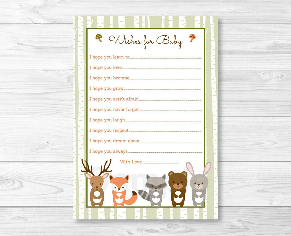 wishes for baby printable template - woodland forest animals printable baby shower wishes for