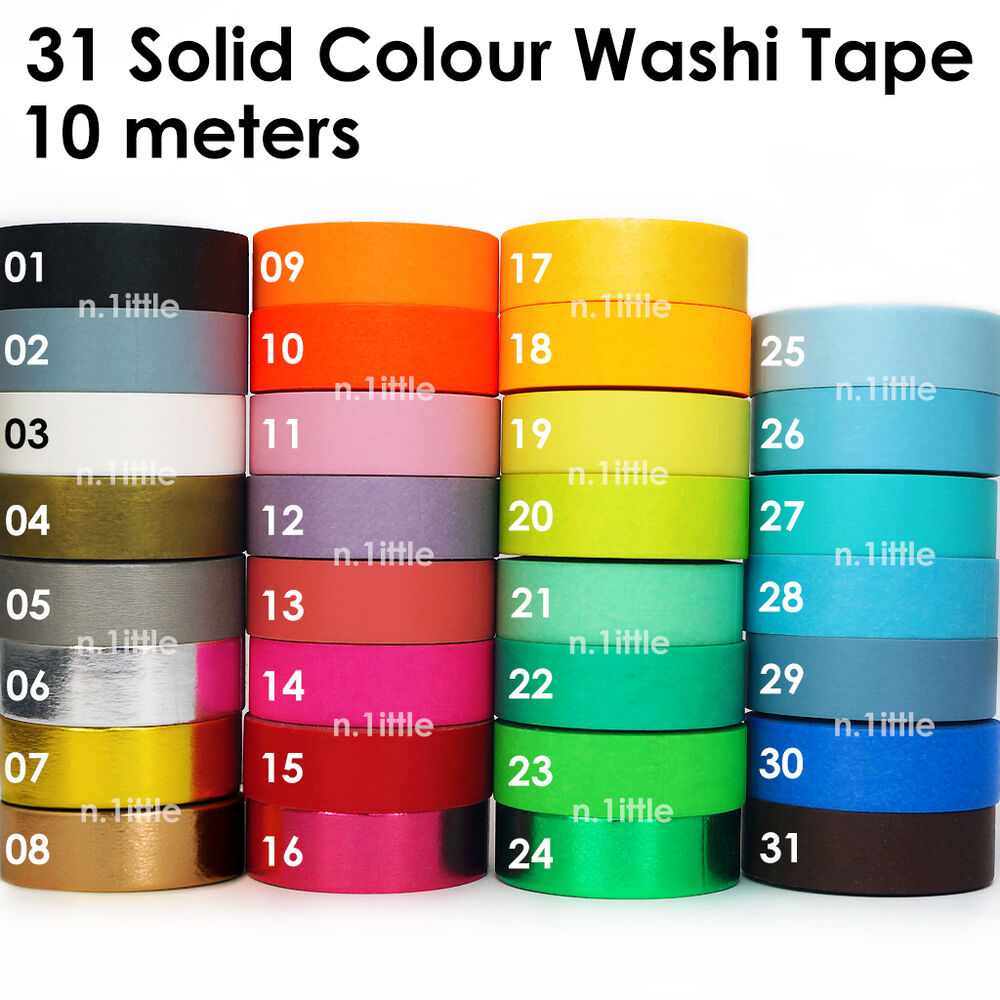 Solid colour paper washi tape masking adhesive roll for Tape works decorative tape