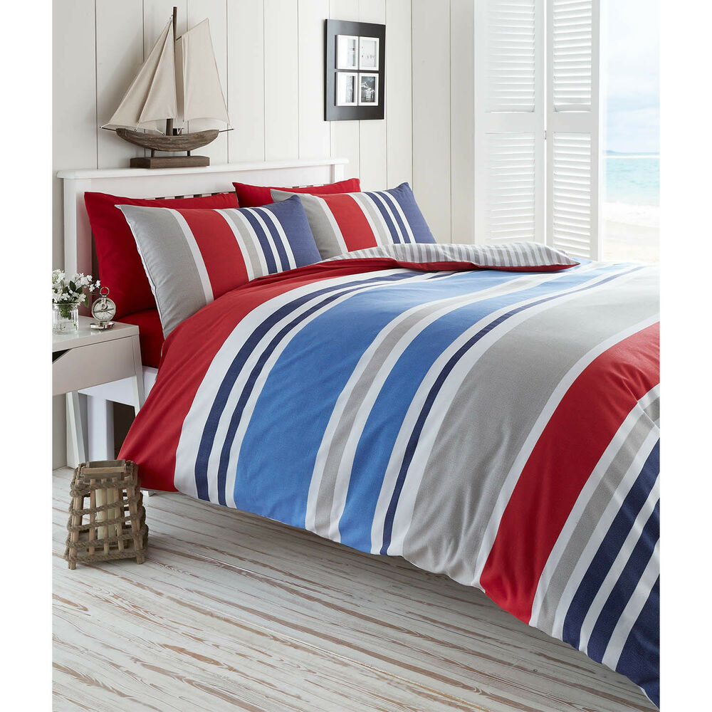 De Cama Laguna Nautical Stripe Duvet Cover Set Red Ebay
