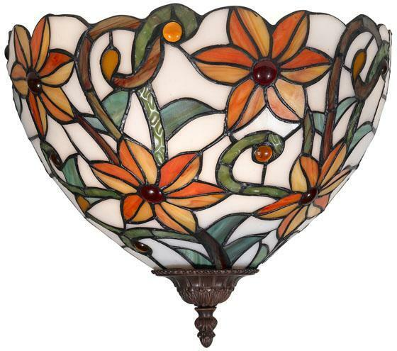 Tiffany Glass Wall Sconces: Tiffany Style Stained Glass 1 Light Wall Sconce Lamp