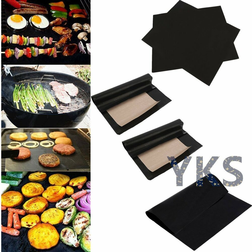 2Pcs Reusable Non-stick BBQ Grill Mat Barbecue Baking