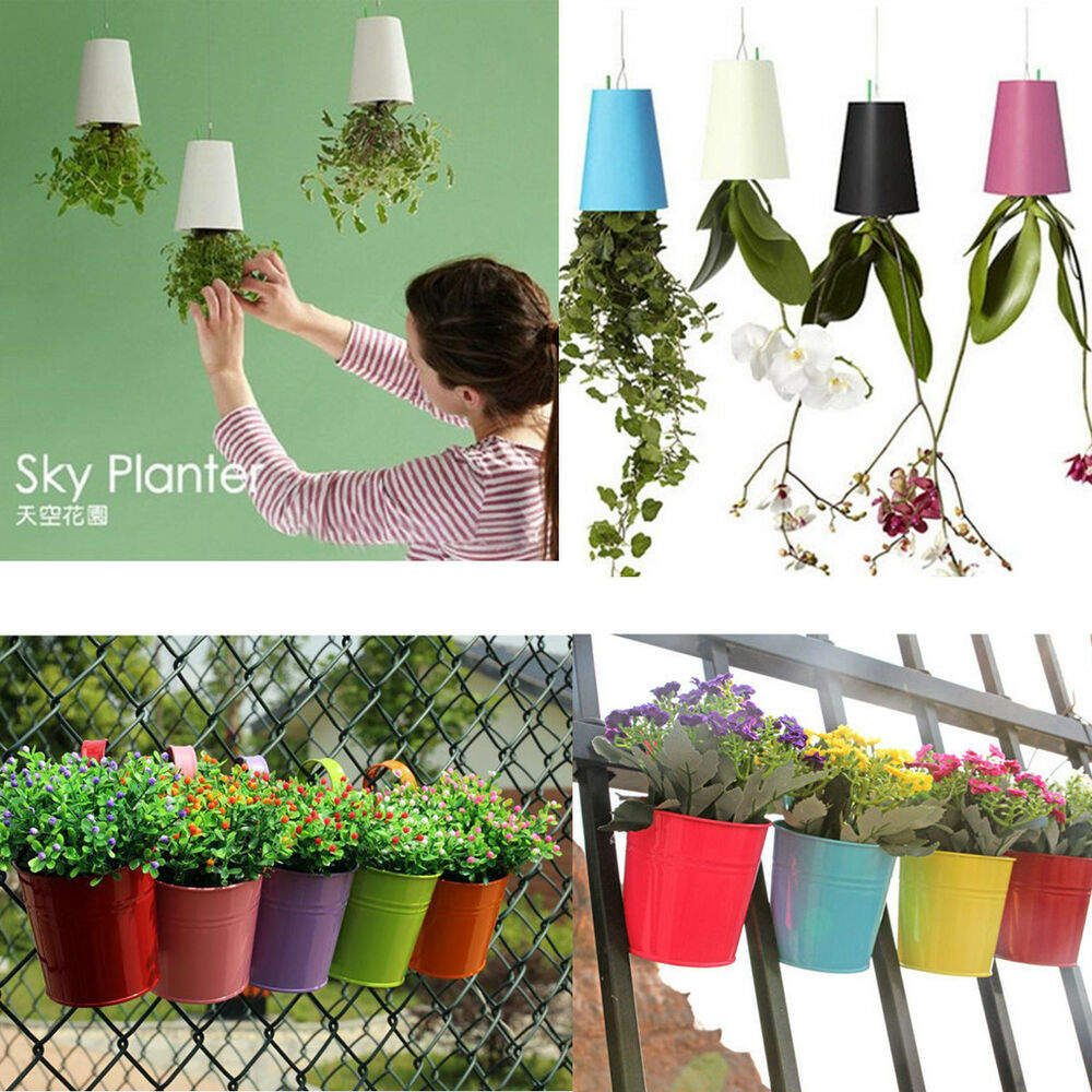 sky planter hanging indoor suspension flower pot upside down plant pot hot ebay. Black Bedroom Furniture Sets. Home Design Ideas