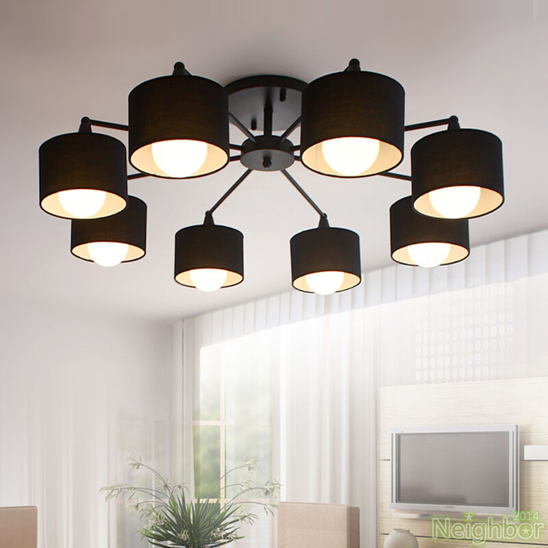 New modern led ceiling lamp black chandelier pendant light for Ebay living room lights