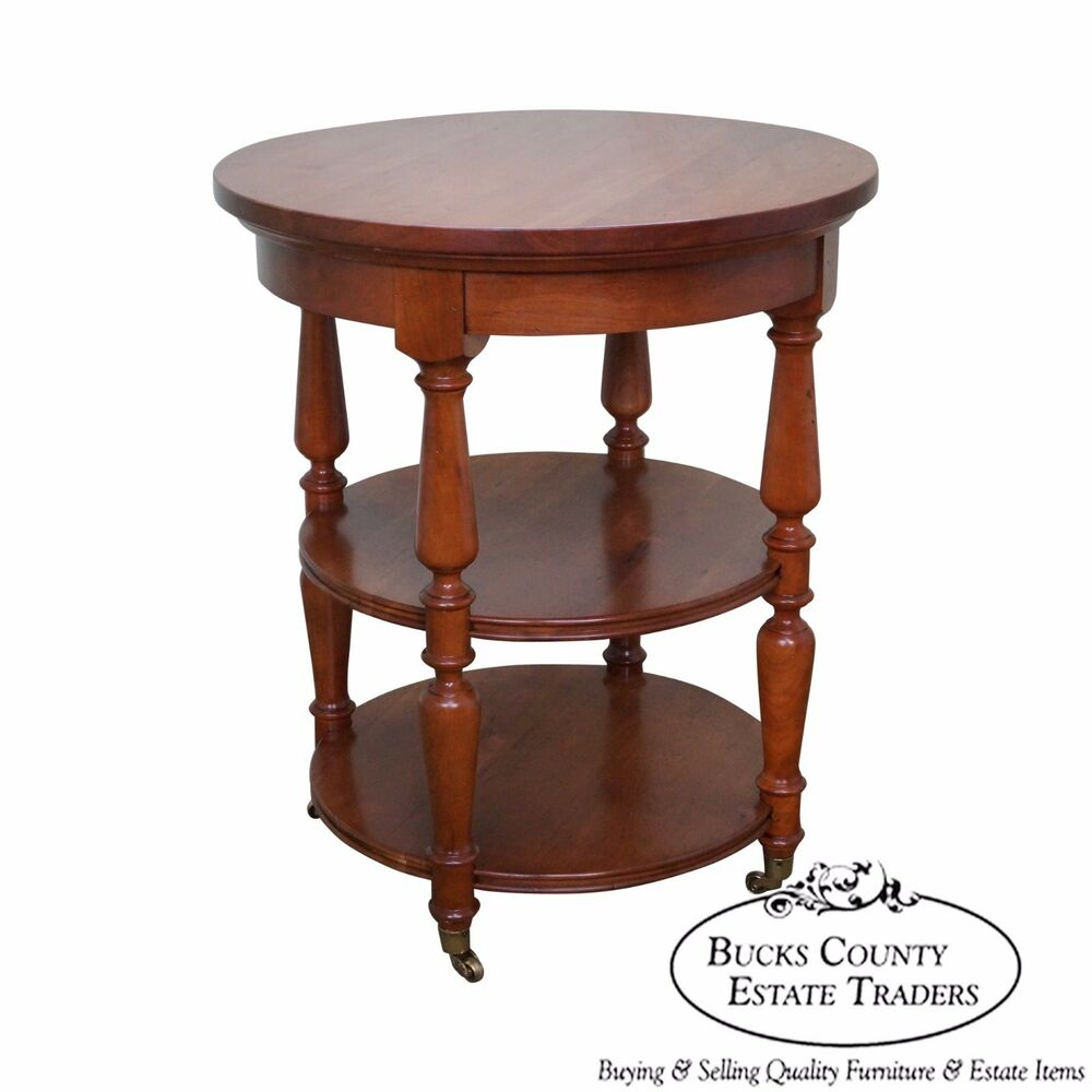 Harden solid cherry round circular 3 tier side table ebay for Cherry side table