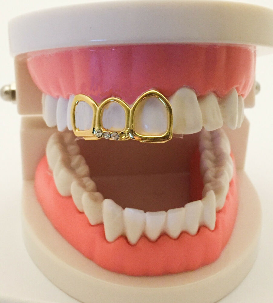14K Gold Plated Mouth Grills Grillz Cap - Open Face covers ...