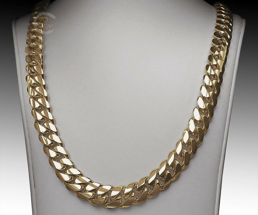 14k solid gold handmade miami cuban curb link 14k gold miami s cuban curb link chain necklace 24