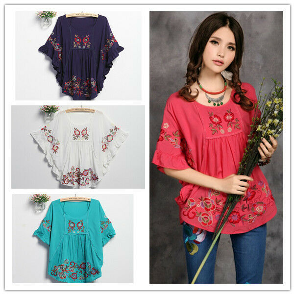 Women peasant ethnic embroidered floral boho batwing
