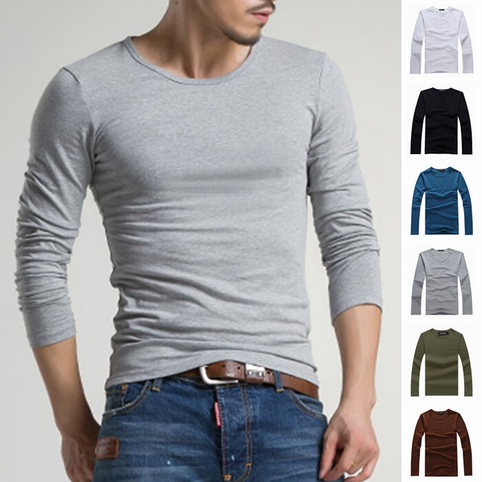 Men's Crew Neck Long Sleeve T-Shirt Slim Fit Casual Solid ...