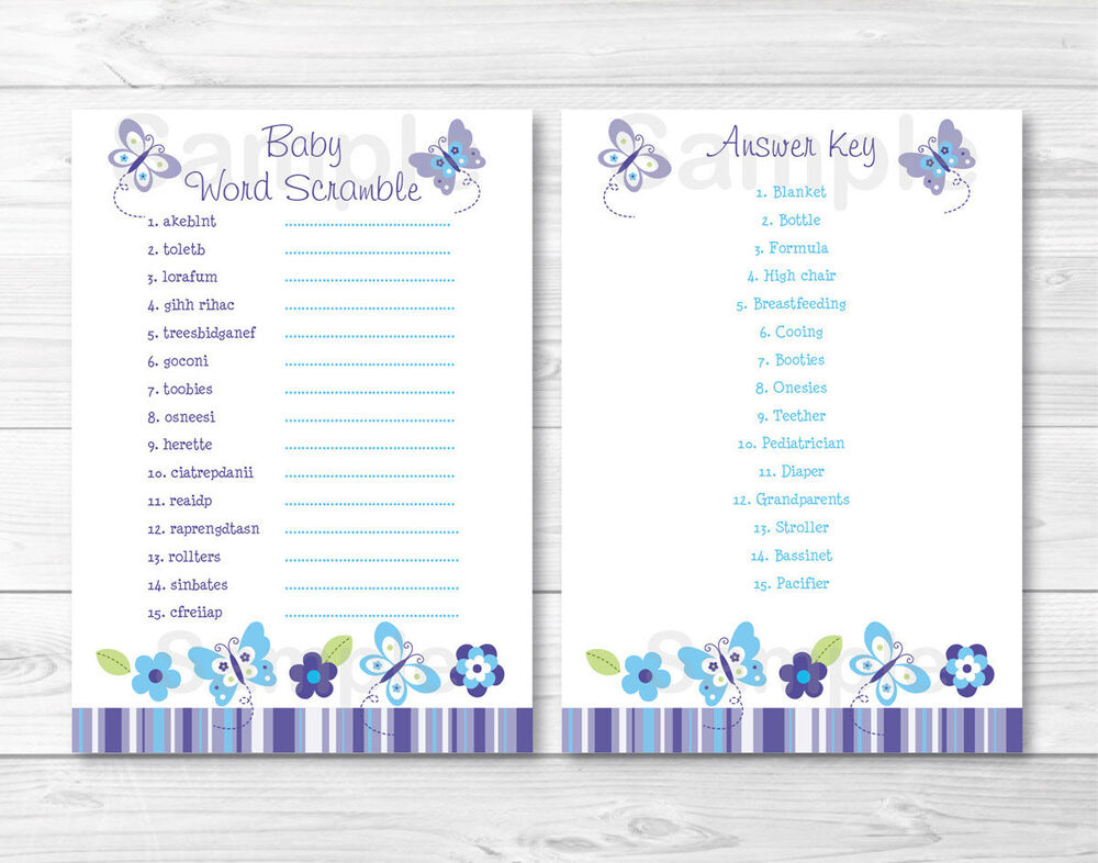 """Lavender Butterfly Garden Printable Baby Shower """"Baby Word ..."""