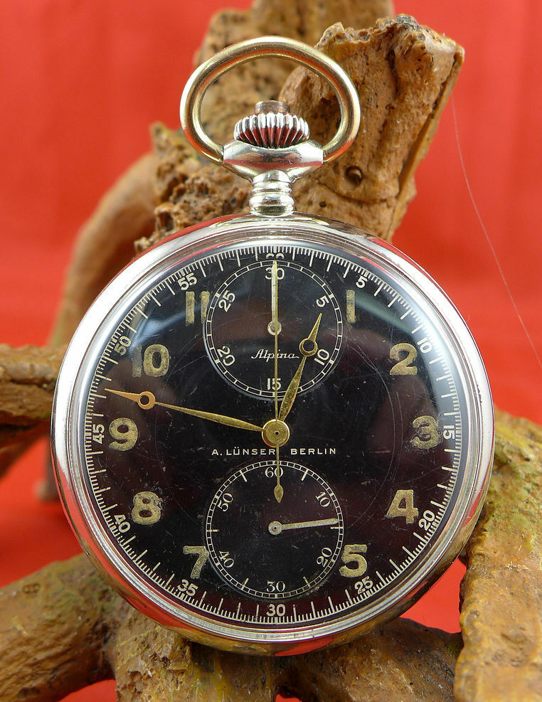 seltene original alpina a l nser berlin milit r taschenuhr chronograph stahl ebay. Black Bedroom Furniture Sets. Home Design Ideas
