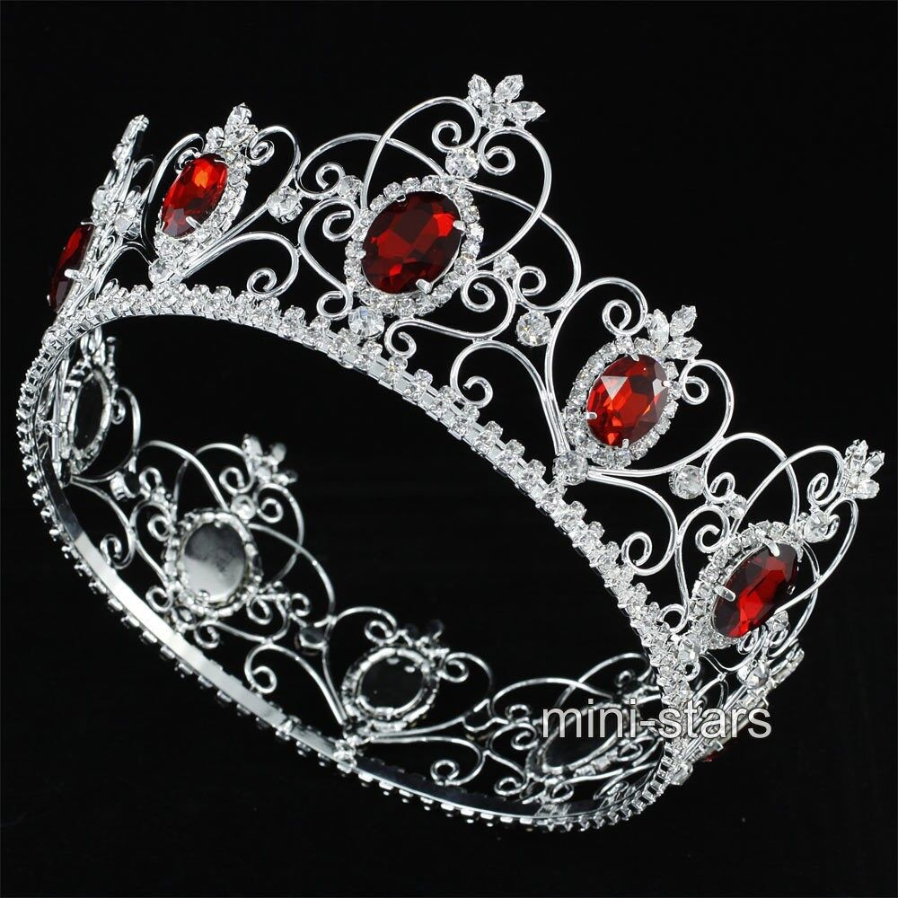King Queen 3 5 Quot Crown Full Round Circle Tiara Simulated