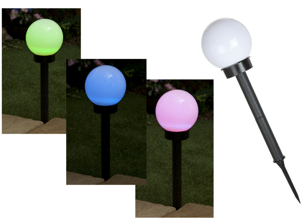 large colour changing solar globe light on stake garden lights outdoor
