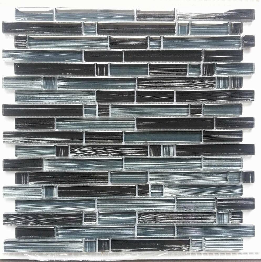 Quot Picasso Quot Black Brushed Mosaic Tile Backsplash Tiles Bath