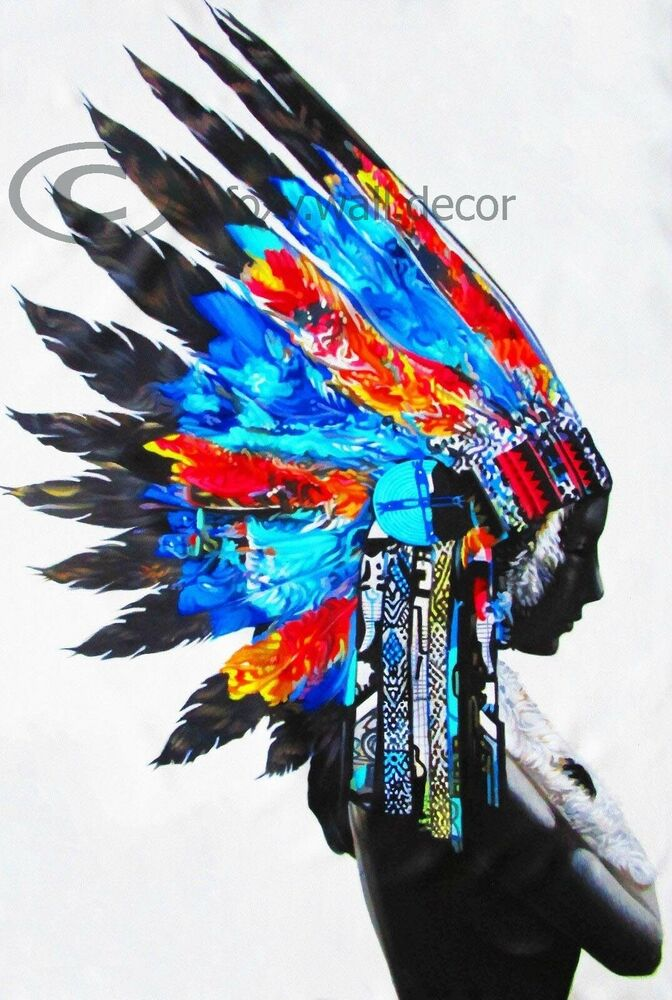 canvas print indian blue feather native american street art painting australia