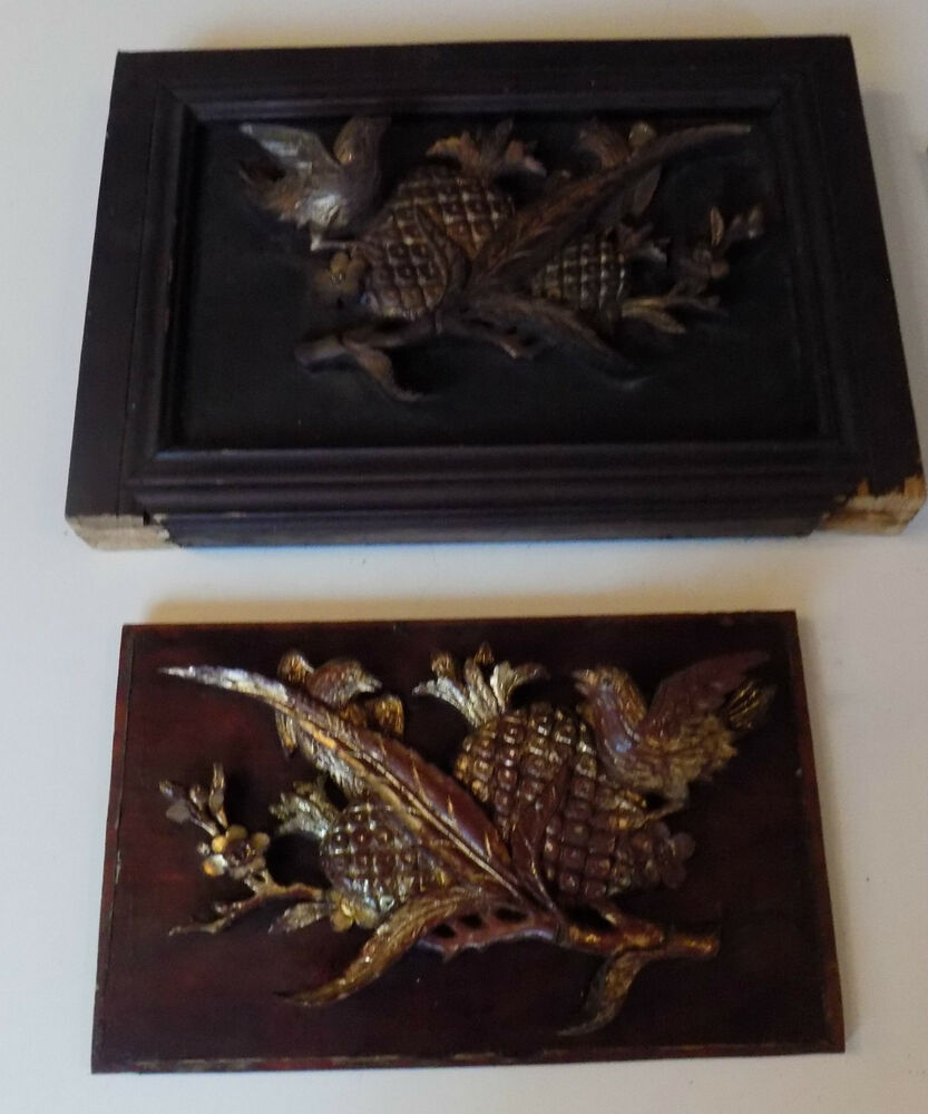 Chinese antique carved wood pair panels large birds flower
