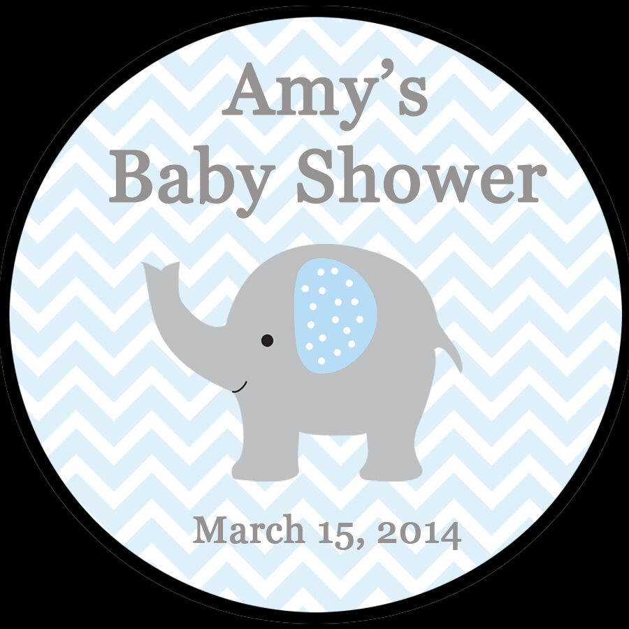 20 Personalized Round Stickers Blue Elephant Baby Shower 2