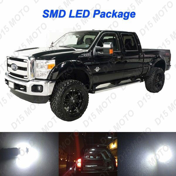 18x Ultra White Interior LED Bulbs +Reverse+ Tag Lights