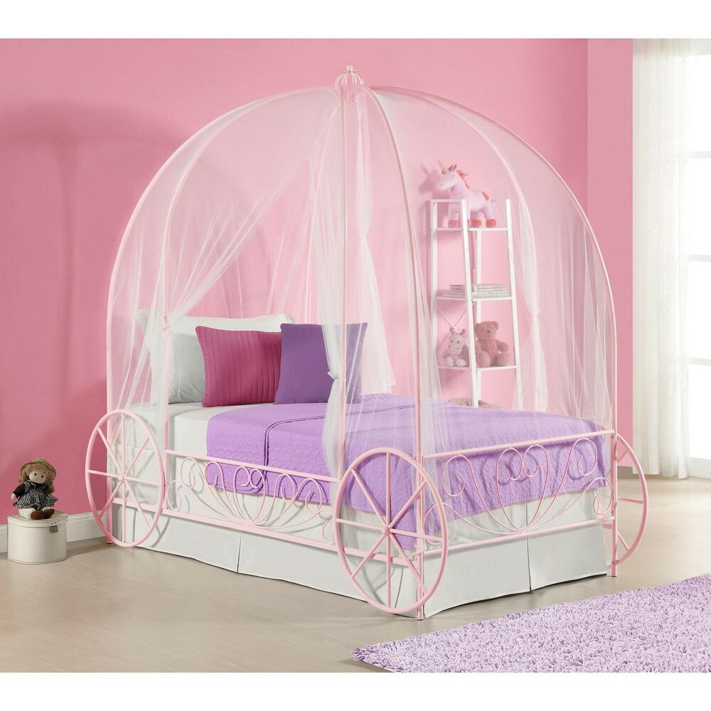 Pink Canopy Bed Princess Carriage Twin Kids Girls Bedroom
