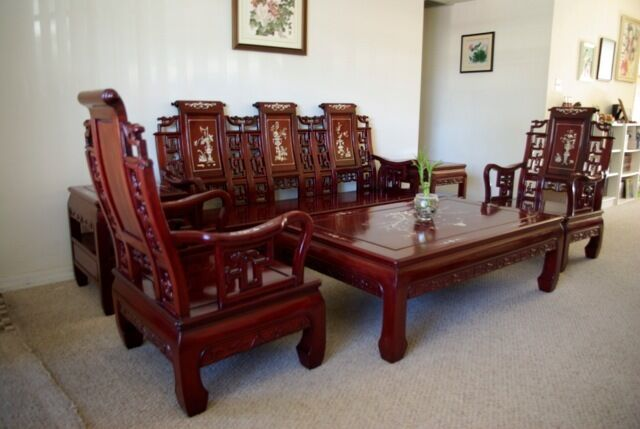 Superb Chinese Rosewood Living Room Furniture With Pearl Shell Inlay 6 Pcs Set Ebay