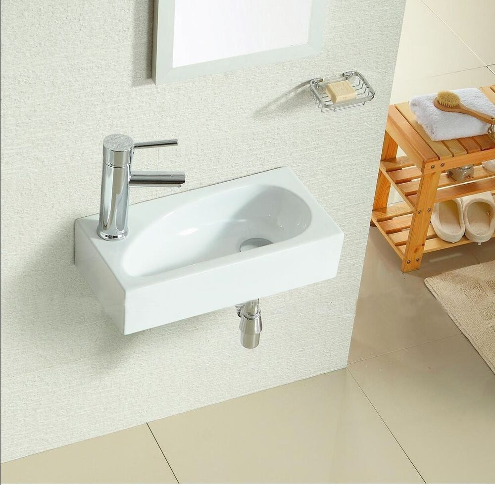 Small Square Wall Hung Corner Cloakroom Counter Top Basin