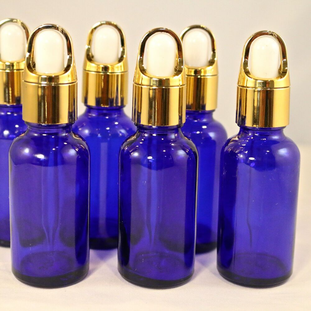1oz Cobalt Blue Glass Bottles W Gold Basket Eye Dropper